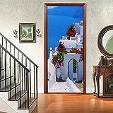 A.Monamour Pegatinas Decorativas de Puerta Autoadhesivo 3D Paisaje De La Isla De Santorini En Grecia Vinilo para Puertas Mural PVC Pegatinas de Pared Foto Poster 77 x 200 cm