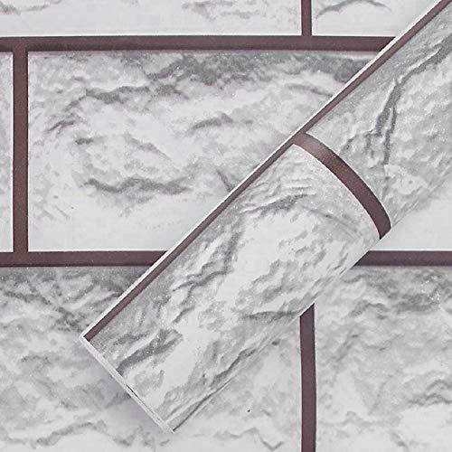 Yisika Papel Pintado Autoadhesivo,Papel Pintado del Ladrillo,Papel Pintado de Dormitorio para Estantes de Encimera de Mesa de Pared 45X100cm