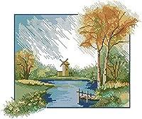 クロスステッチ刺繍 キット40x50cm DIY 秋の川の風車 初心者刺しゅうキット11CTプリント済みキャンバスクロスステッチの布刺繍キット手作り家具の装飾 針仕事(フレームレス)