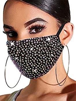 Barode Sparkly Rhinestones Mask Masquerade 3D Crystal Halloween Masks with Adjustable Ear Loops Party Face Decoration Jewelry for Women and Girls  Colorful