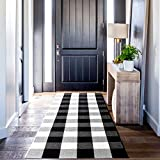 Buffalo Plaid Kitchen Runner Rug, Yonet Buffalo Plaid Check Rug 23.6'x70.8', Washable Hand-Woven Black and White Front Door Outdoor Mat for Kitchen/Laundry/Bedroom/Bathroom/Entry