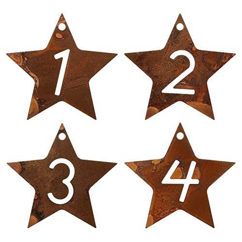 GWHOLE Adventszahlen 1-4 für Advent Kerzen Deko Edelrost Adventskränze Weihnachten