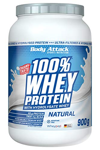 Body Attack 100% Whey Protein Hydrolysate- Ultra filtriertes Whey Protein (Natural, 900 g (1er Pack))
