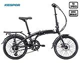 KESPOR Venture Folding Bike Commuter, Rear Rack, Folding 16 Speed Bike City Aluminum, Disc Brake, 20-Inch Wheels (Black)