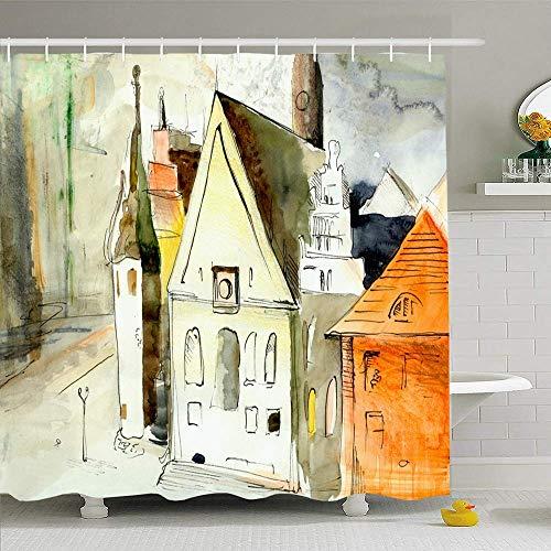 N\A Duschvorhang Set mit Haken Öl Malerisch Stilvolles Deutschland Schmales Polen Häuser Drucken Straßenbanner Ansicht Aquarell Wahrzeichen Wasserdichtes Polyestergewebe Bad Dekor für Badezimmer