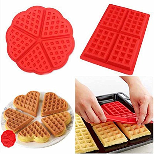 BESTOMZ Lot de 2 moules à gaufres - Moule à gaufres en forme de cœur et rectangulaire en silicone anti-adhésif pour gaufres et gâteaux