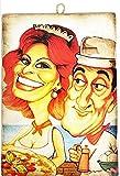 KUSTOM ART Cuadro de estilo vintage de los famosos actores, Sofía Loren que sirve la pizza y el Totò, impresión sobre madera, para decoración, restaurante, pizzería, tractor, bar, hotel, etc.