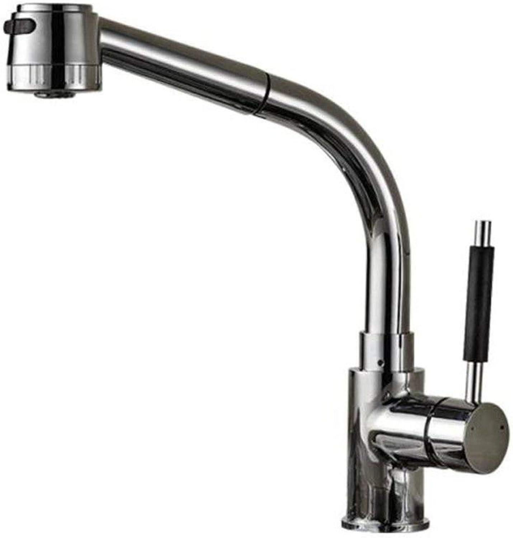 Wasserhahn Küche Waschbecken Badezimmer Pull-Down-Spüle Wasserhahn Messing Konstruierte Multi-Funktions-Auszieh-Küchenarmatur Spritzwassergeschützte ausziehbare Teleskopspüle hei und kalt