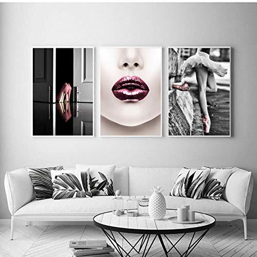 LLXHG Ballerina, wandafbeelding, canvas, decoratie, ballet, schoenen, mode, lippen, affiches en printen, meisjes, dames, kamer, decoratie thuis, 50 x 70 cm, 3 stuks, zonder lijst