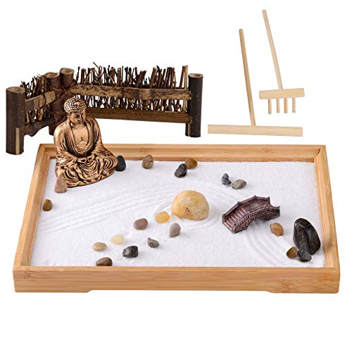 Zen Garden for Desk -Zen Decor Sand Garden Gift Set- Buddha Zen Garden for Home & Office -Japanese Zen Room Décor & Meditation Tools (11Lx8W Rectangle)