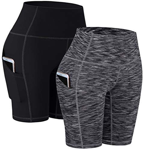 """TOREEL Biker Shorts for Women with Pockets 8"""" 2 Pack High Waisted Workout Shorts for Women Athletic Yoga Shorts"""