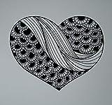BailongXiao Adorno Abstracto corazón Pared Vinilo calcomanía Henna Estilo Indio Pegatina decoración del hogar Paisley artículos para el hogar 102x129 cm