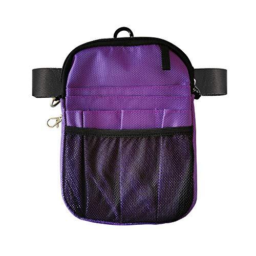 uxcellmo Nurse Organizer Belt 2 Sided -12 Pocket Waist Bag Pouch Case for Medical Scissors Care Kit Tool (Purple)