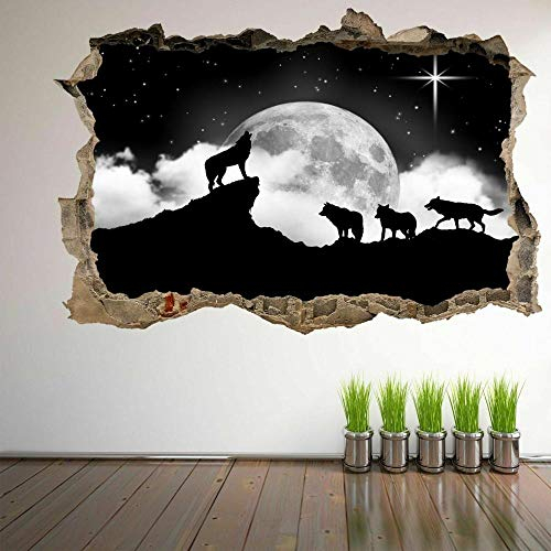 wall sticker Howling Wolves Moon Stars Wall Art Stickers Mural Decal Kids Bedroom Home