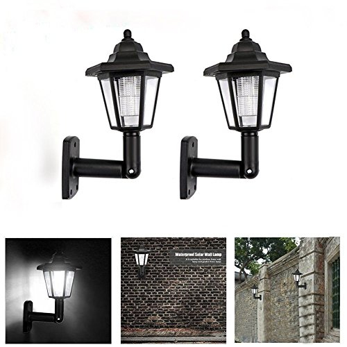 Farol de pared para exteriores, color negro, luz solar hexagonal impermeable para jardín, 2pcs, 24.5 x 14.5 x 12.5cm/9.65*5.71*4.92in