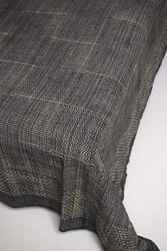 インド 木版染め(ブロックプリント) シングルベッドカバー 厚手コットン カディー グレー系 格子 格子 細かい幾何学模様