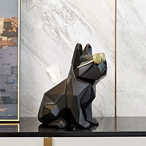 COLiJOL Soporte de Papel Soporte para Caja de Pañuelos de Animales Carrito de Escritorio, Ojos de Origami Dispensador de Papel con Forma de Perro Caja de Servilletas de Resina, Adornos para Manualida