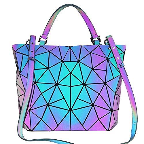 BestoU Damen Handtaschen Gitter Design Geometrische Leuchtende Tasche Schwarz PU-Leder Einzigartige Geldbörsen Frauen Umhängetasche (Leuchtende 2)