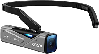 Ordro EP7 最新型 4K 60FPS ビデオカメラ ウェアラブル式 Vlogビデオカメラ FPV 二軸防振搭載 IP65防水 WI-FIアプリ制御 オートフォーカス