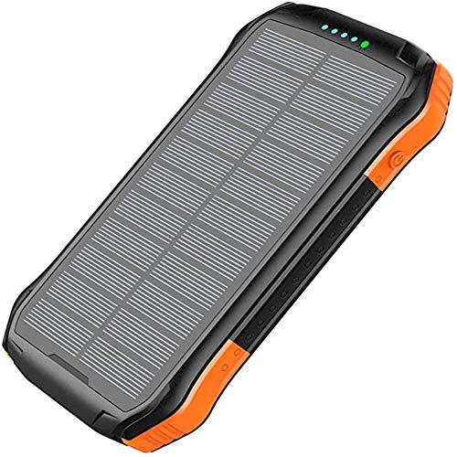 Cargador Solar Portátil Inalámbrico Power Bank 10000Mah, Cargador De Camping Con 3 Puertos De Salida USB 4 Modos De Iluminación, Batería De Respaldo Externa Compatible Con Iphone 11, X, PRO,Naranja