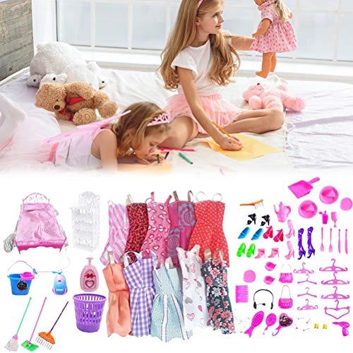 OUTEYE Juguete de Vestir para muñecas 70pcs / Set Vestido de Ropa para muñecas Set Seguridad Accesorios para muñecas de Moda
