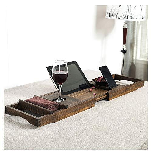 Botellero Armarios para vino Prima bandeja del cuarto de bambú Estante magnífico extensible Bañera Caddy con el sostenedor de la copa de vino y el titular del iPad / 75-109cmx23cm libro Rest