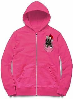 Fox Republic ポケット ブラック サンタ 子ウサギ ピンク キッズ パーカー シッパー スウェット トレーナー 110cm
