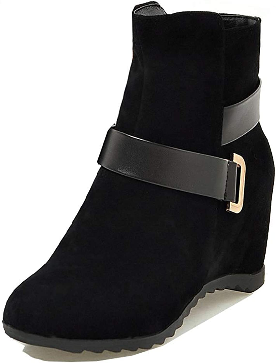 Unm Women's Fashion Strap Round Toe Hidden Wedge Short Boots Mid Elevator Heel Dress Ankle Booties with Zipper