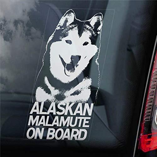 Calcomanía de vinilo para coche, diseño de Malamute a bordo, de Alaskan,...