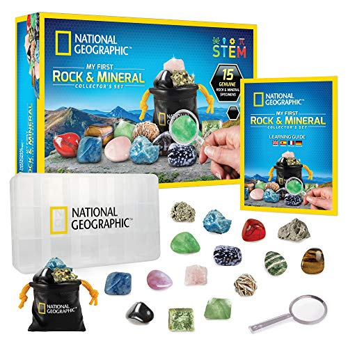 NATIONAL GEOGRAPHIC Rock & Mineral Collection - Rock Collection Box for Kids, 15 Rocks and Minerals, Desert Rose, Agate, Rose Quartz, Jasper, Tiger's Eye, A Great STEM Science Kit for Boys and Girls