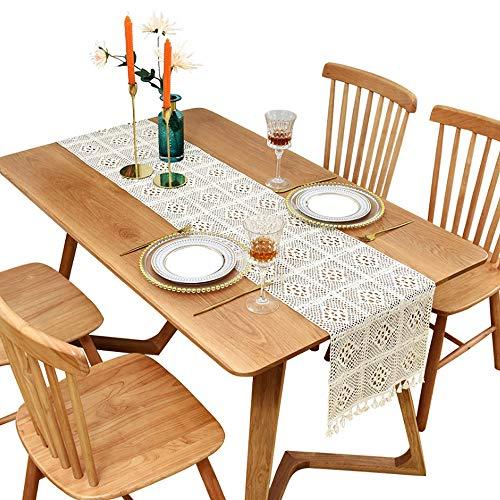Shulok Camino de mesa moderno, color beige, rectangular, de macramé, de algodón, estilo rústico, decoración de mesa y estilo bohemio (beige, 30 x 200 cm)