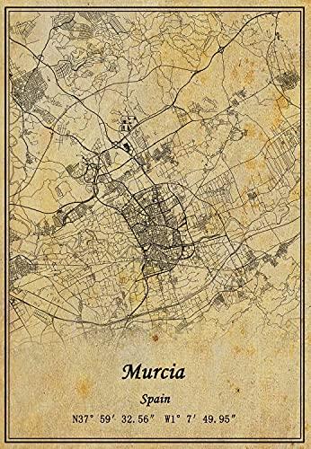 Póster de la pared del mapa de Murcia de España con impresión en lienzo, estilo vintage, sin marco, decoración de regalo 30,5 x 40,6 cm