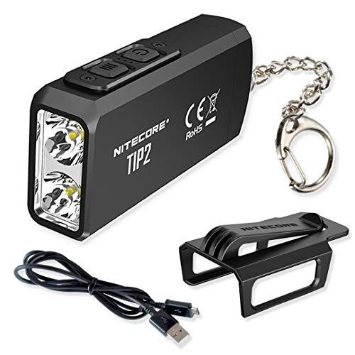 NITECORE TIP 2 (TIP2) 720 Lumen USB Rechargeable EDC Keychain Flashlight with LumenTac Charging Cable
