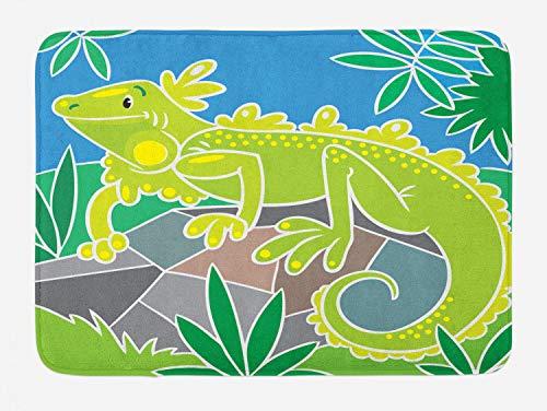 Lunarable Iguana Bath Mat, Nursery Themed Polygonal Cartoonish Design of Happy Reptile in Jungle on Rock, Plush Bathroom Decor Mat with Non Slip Backing, 29.5