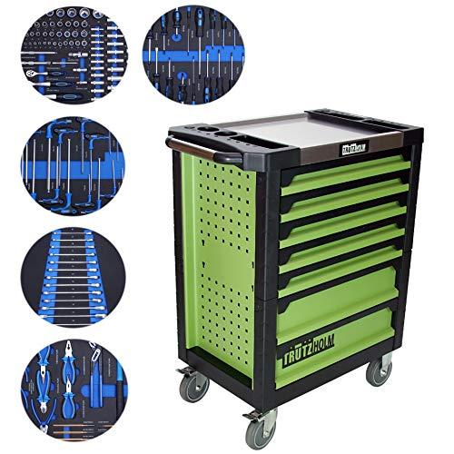 TRUTZHOLM® Werkstattwagen Premium Profi bestückt Montagewagen gefüllt Werkzeugwagen Assistent (Premium XL bestückt)