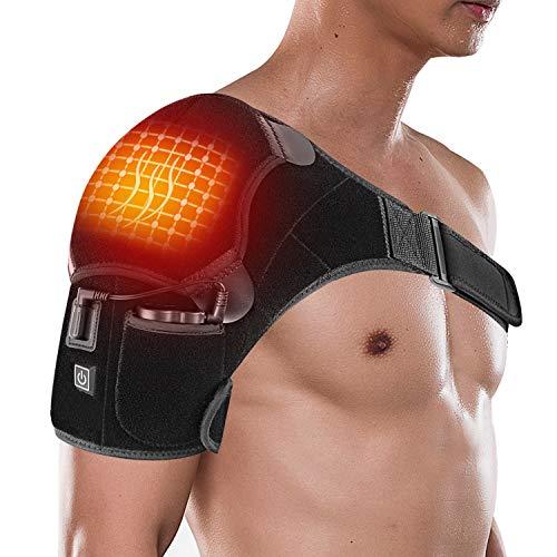 Braguita térmica para hombro, portátil, eléctrica, 3 ajustes de calefacción, correa de almohadilla infrarroja inalámbrica con terapia de frío caliente para puños rotadores, hombros congelados, alivio del dolor muscular, manga de compresión de hombro