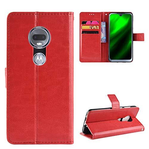 LODROC Moto G7/G7 Plus Hülle, TPU Lederhülle Magnetische Schutzhülle [Kartenfach] [Standfunktion], Stoßfeste Tasche Kompatibel für Motorola Moto G7/G7Plus - LOBYU0300845 Rot