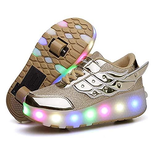 ZZX LED USB Wiederaufladbare Doppelräder Rollschuhe Schuhe Retraktable Outdoor Sports Gymnastic Running Sneakers Für Jungen Mädchen,Gold-33