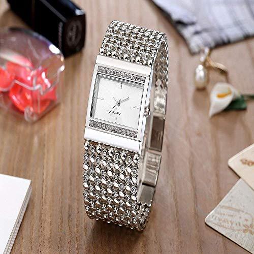 Thumby Praktische Polshorloges Unisex Casual Zakelijke Horloge Drie Ogen Staal Quartz Horloge Mid-Size Horloge Dames Bangle Decoratieve Horloge Armband ZILVER