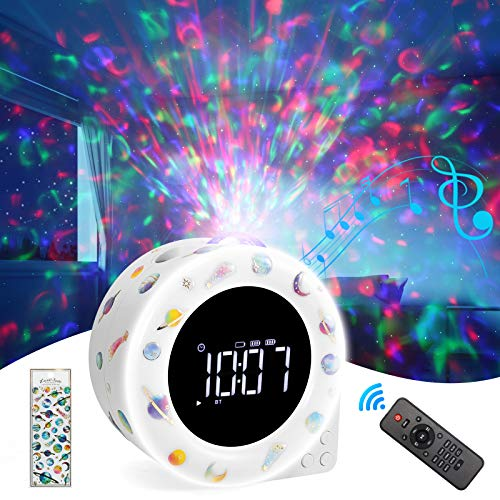 Star Projector Night Light,ROTEK DIY Stickers Alarm Clock Galaxy Projector with 8 Lighting Effects,White Noise Sound LED Night Light Bluetooth Speaker with Remote Control for Kids Adult Home Bedroom