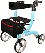 CHENNAO Aluminum Four-Wheeled Walking Shopping Cart Rest Chair Walking Car with Wheeled Seat Baby Stroller Multifunction Small Cart