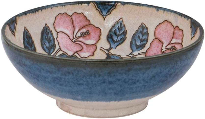 WWFAN Blue Rice Bowls Hand Painted Dessert Bowl Max 90% OFF for Pattern Max 74% OFF Rose