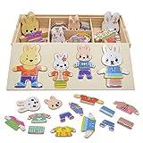 Vesti la Famiglia Conigli Puzzle Legno Bambini Educativi Giocattolo Giochi Creativi Dress up Toys Craft Fit 72 PCS 3 Anni e Oltre Conigli