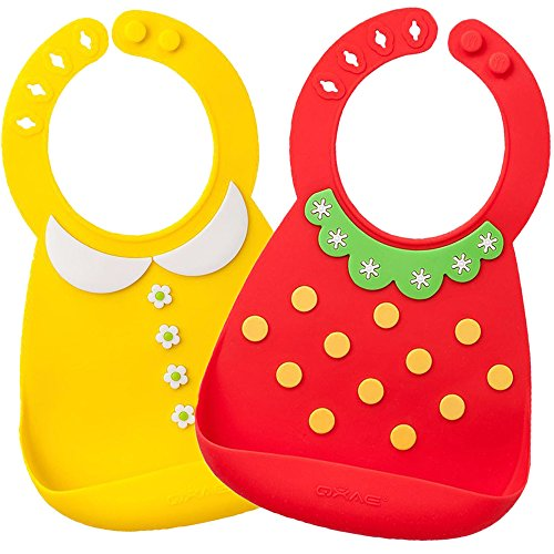 Waterproof Silicone Bib- Comfortable Soft Cute Baby Bib for Toddlers, Easily Wipes Clean after Sharing Food with Babies! Set of 2 Colors(Yellow/Red)