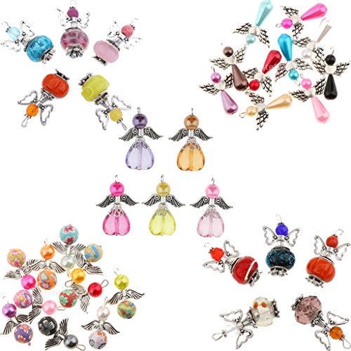 Sharplace 35 Pieces Assorted Guardian Angel Wings Charms Pendants Faceted Acrylic Heart Teardrop Beads Wings fit Necklace Earring Bracelet Crafts Jewelry Making Findings