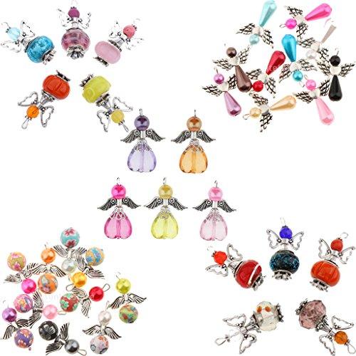 Sharplace 35 Stück Engel Flügel Charme Anhänger DIY Basteln Schmuck Halskette Perlenengel Anhänger