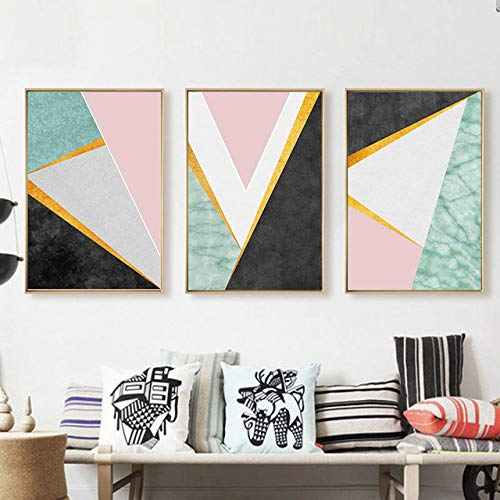 N / A Geometric White Black Square Marble Base Minimalist Living Room Background Decorative Painting Frameless 30x40cm