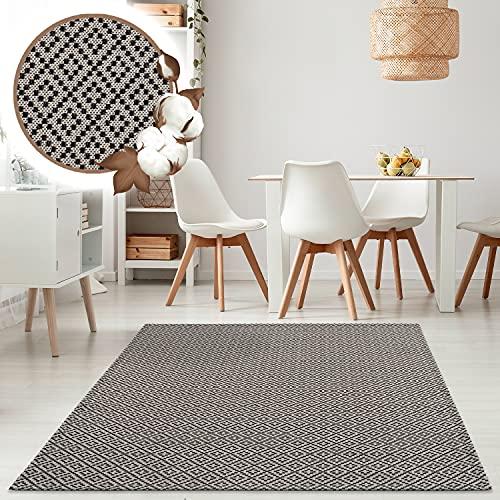 payé Alfombra de salón – Alfombra de algodón – gris y negro 150 x 230 cm Boho rústico Skandi estilo decorativo dormitorio