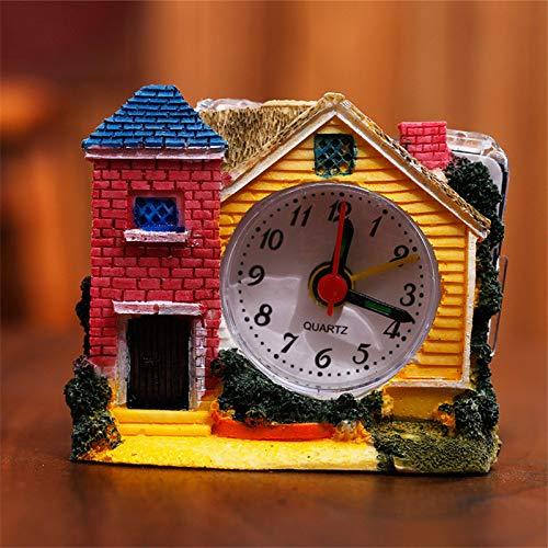 RUANRUAN Pequeño Castillo Reloj Despertador Villa Reloj Despertador Antiguo Reloj Despertador...