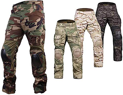 Elite Tribe Airsoft Hunting Tactical Pants Combat Gen3 Pants with Knee Pad (Woodland, L)